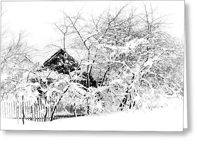 Christmas Tree In Nature Greeting Cards - Wooden House after Heavy Snowfall. Russia Greeting Card by Jenny Rainbow