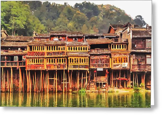 Fenghuang Greeting Cards - Wooden houses Greeting Card by Lanjee Chee