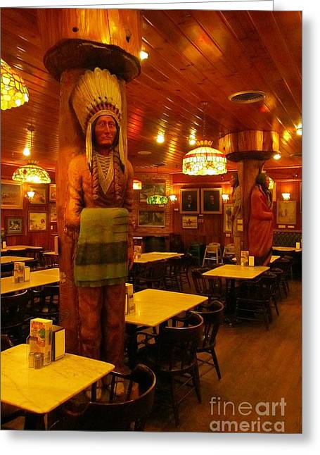 Wooden Sculpture Greeting Cards - Wooden Indians at Wall Drug Greeting Card by John Malone