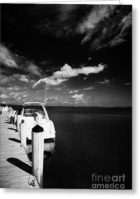 Clean Water Greeting Cards - Wooden Jetty And Sports Boat Islamorada Florida Keys Usa Greeting Card by Joe Fox