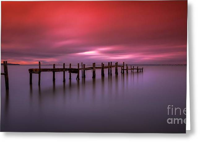 Manateevoyager Greeting Cards - Wooden Jetty Sunset Greeting Card by English Landscapes