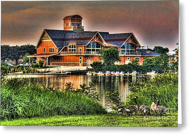 Recently Sold -  - Wooden Building Greeting Cards - Wooden lodge over looking a lake Greeting Card by Jim Lepard