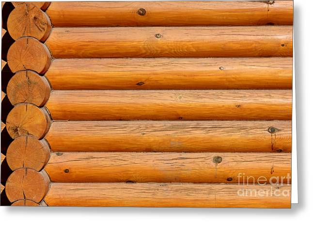 Cabin Wall Greeting Cards - Wooden Logs Wall Background Greeting Card by Kiril Stanchev