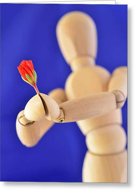 Wooden Man -  Flower For You Greeting Card by Gynt