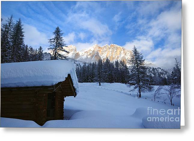Italian Sunset Greeting Cards - Wooden mountain hut in winter - Italian alps Greeting Card by Matteo Colombo