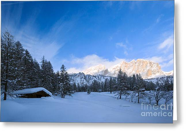 Italian Sunset Greeting Cards - Wooden mountain hut near woods in winter - Italian alps Greeting Card by Matteo Colombo