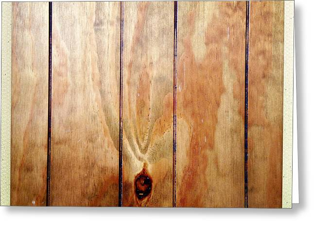 Wood Plank Flooring Greeting Cards - Wooden panel Greeting Card by Les Cunliffe