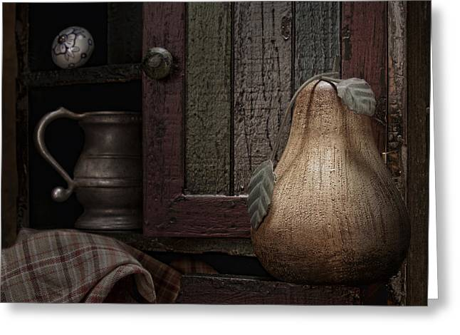 Cupboard Greeting Cards - Wooden Pear Still Life Greeting Card by Tom Mc Nemar