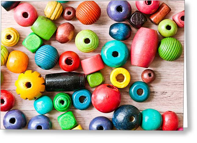 Component Photographs Greeting Cards - Wooden peices Greeting Card by Tom Gowanlock