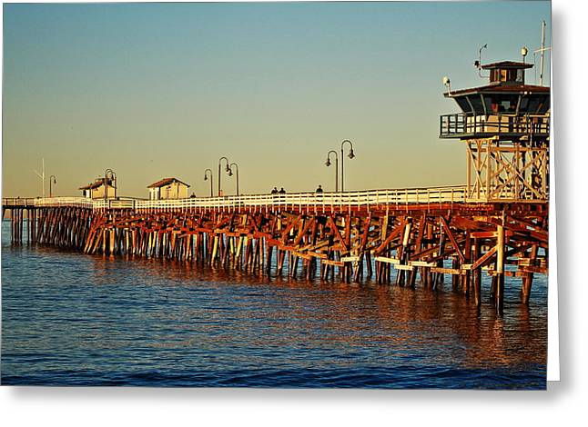 T Street Beach Greeting Cards - Wooden Pier in San Clemente CA Greeting Card by Richard Cheski