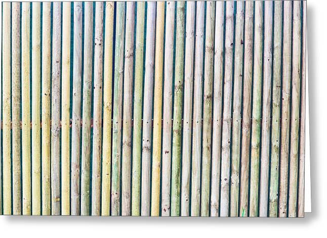 Recently Sold -  - Bamboo Fence Greeting Cards - Wooden poles Greeting Card by Tom Gowanlock