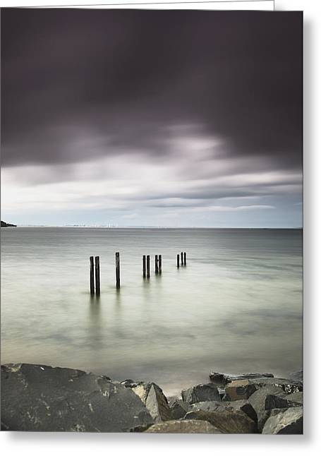 Calming The Storm Greeting Cards - Wooden Posts In A Row In The Shallow Greeting Card by John Short
