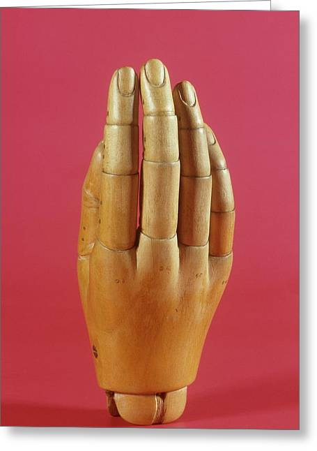 Wooden Prosthetic Hand Greeting Card by Science Photo Library