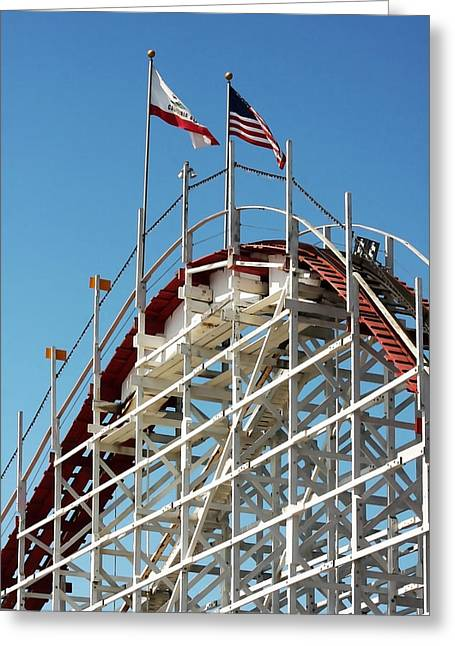Santa Cruz Pier Greeting Cards - Wooden Roller Coaster Greeting Card by Art Block Collections
