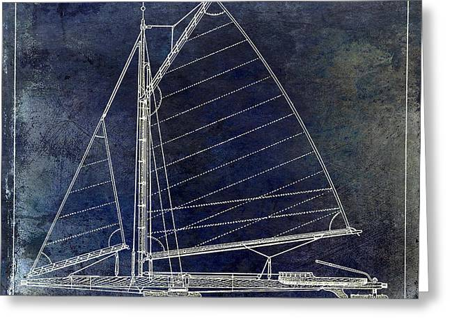 Wooden Boat Greeting Cards - Wooden Sailboat Blue Greeting Card by Jon Neidert