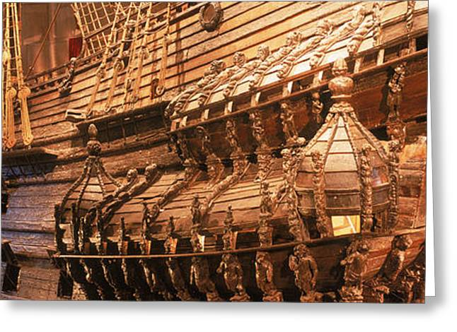 Porthole Greeting Cards - Wooden Ship Vasa In A Museum, Vasa Greeting Card by Panoramic Images