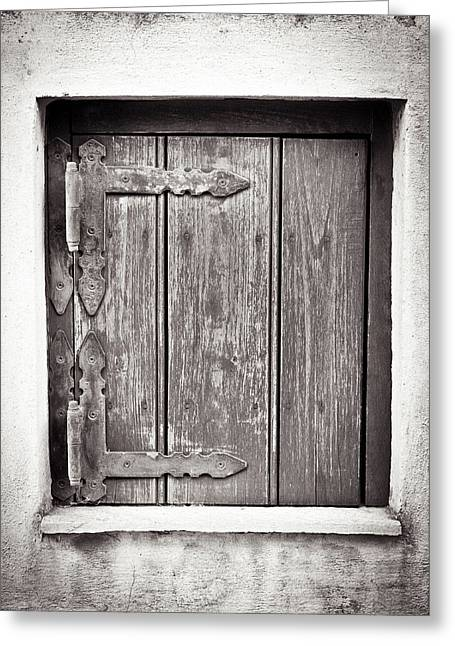 Weathered Shutters Greeting Cards - Wooden shutter Greeting Card by Tom Gowanlock
