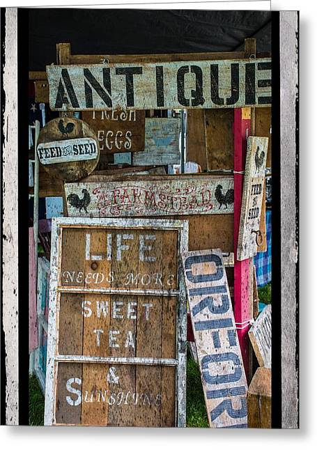 Farmstand Greeting Cards - Wooden Signs Greeting Card by Sherman Perry