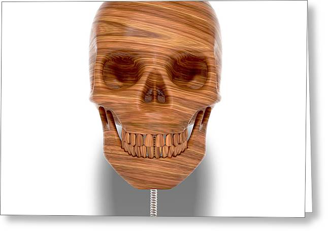 Wooden Sculpture Digital Art Greeting Cards - Wooden Skull Greeting Card by Luke Dwyer
