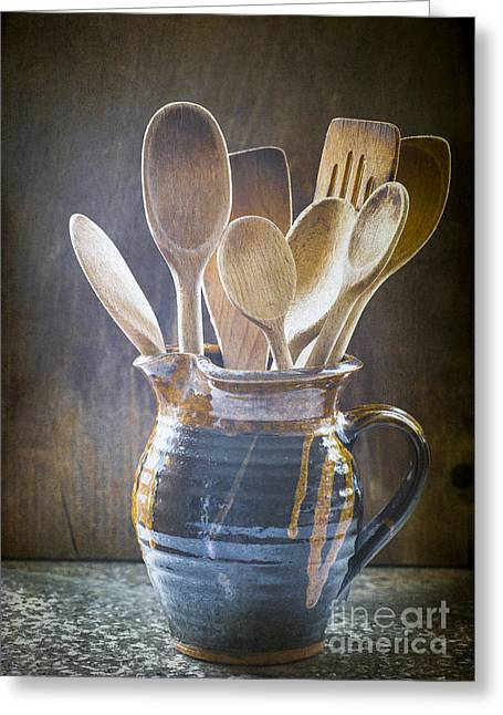 Wooden Spoons Greeting Card by Jan Bickerton