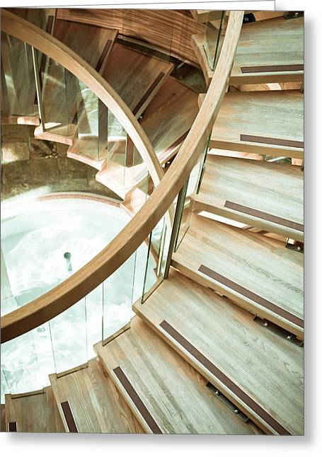 Gradations Greeting Cards - Wooden staircase Greeting Card by Tom Gowanlock