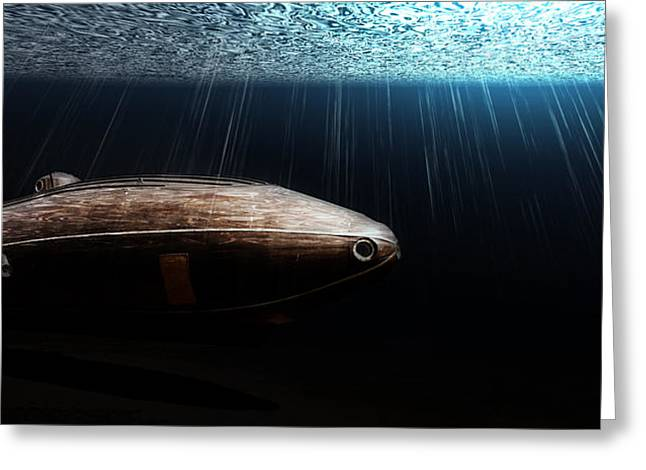 Sun Breakthrough Greeting Cards - Wooden Submarine Ictineo II DV Greeting Card by Weston Westmoreland
