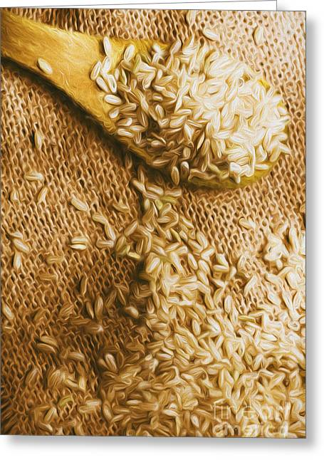 Wooden Tablespoon Serving Of Uncooked Brown Rice Greeting Card by Jorgo Photography - Wall Art Gallery