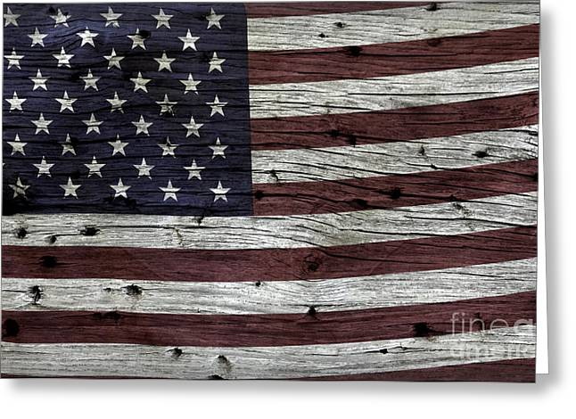 Fourth Of July Photographs Greeting Cards - Wooden Textured USA Flag3 Greeting Card by John Stephens