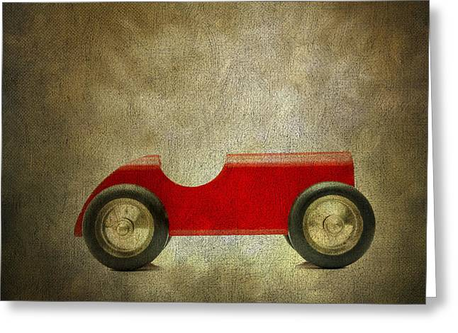 Toys Greeting Cards - Wooden toy car Greeting Card by Bernard Jaubert