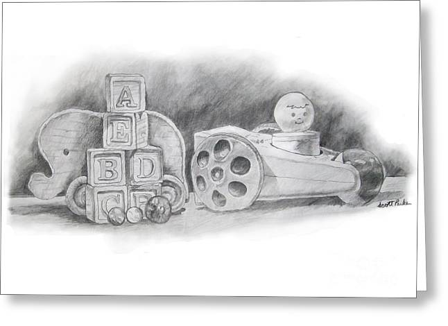 Pull Drawings Greeting Cards - Wooden Toys Greeting Card by Scott Parker