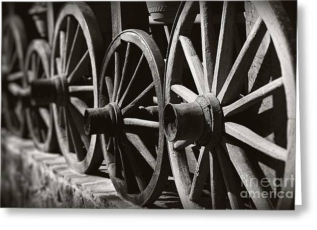 Greeting Cards - Wooden  Wagon Wheels Greeting Card by Martin Dzurjanik