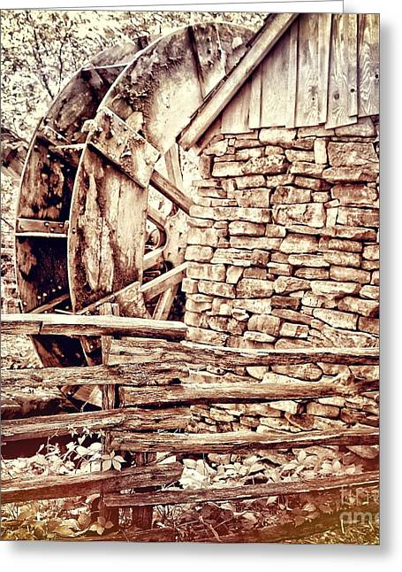 Split Rail Fence Greeting Cards - Wooden Water Mill in the Ozarks Greeting Card by Sharlotte Hughes