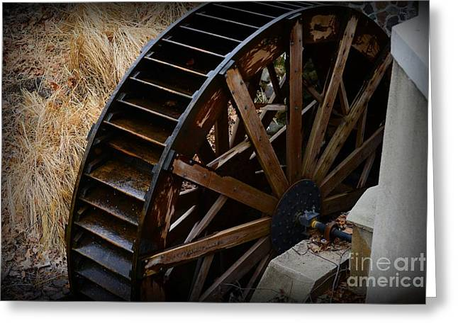 Grist Mill Greeting Cards - Wooden Water Wheel Greeting Card by Paul Ward