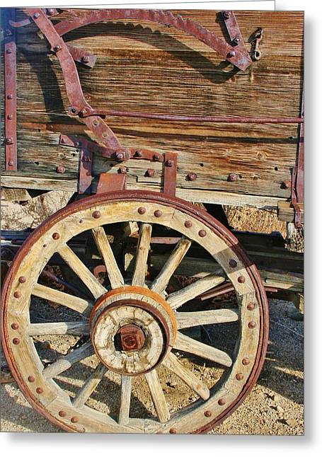 Iron Greeting Cards - Wooden Wheels Greeting Card by Marilyn Diaz