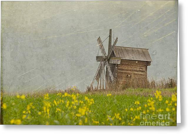 Open-air Greeting Cards - Wooden Windmill.  Kizhi Island.  Russia Greeting Card by Juli Scalzi