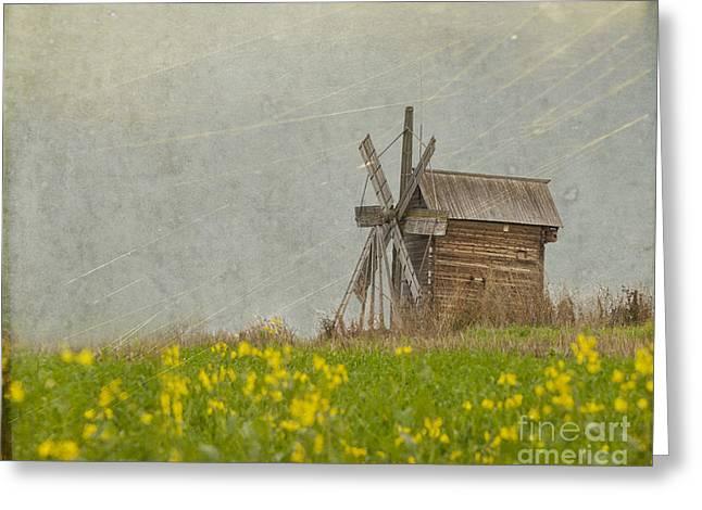 Old Wooden Windmill.  Kizhi Island.  Russia Greeting Card by Juli Scalzi