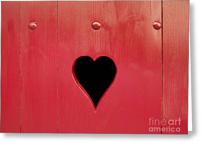 France Doors Greeting Cards - Wooden window shutter with a heart-shaped hole Greeting Card by Bernard Jaubert