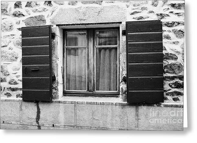 Stone House Greeting Cards - Wooden Window Shutters On Old Historic Stone House Mont-louis Pyrenees-orientales France Greeting Card by Joe Fox