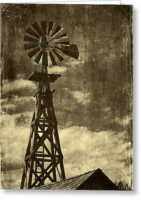 Old Town Digital Art Greeting Cards - Wooden Windpump I Greeting Card by Maria Angelica Maira