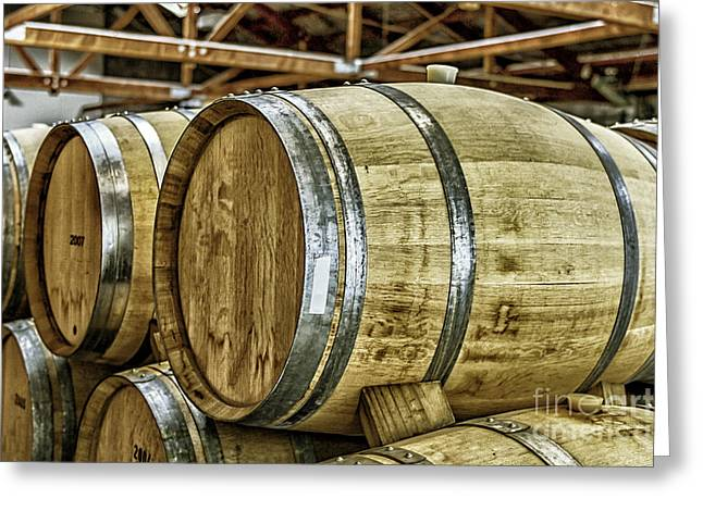Basement Greeting Cards - Wooden wine barrels Greeting Card by Patricia Hofmeester