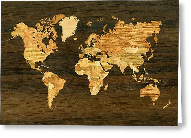 Wooden World Map Greeting Card by Hakon Soreide