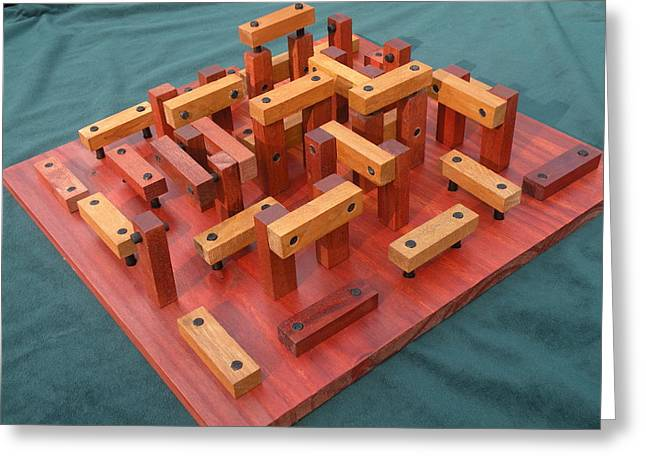 Geometric Sculptures Greeting Cards - Woodhenge Greeting Card by Dave Martsolf