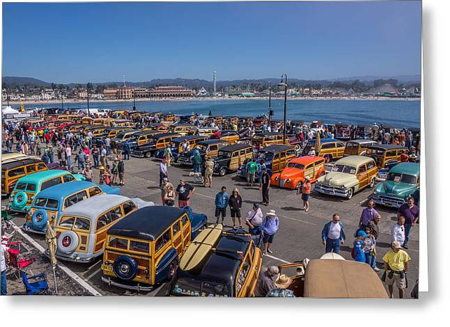 Best Sellers -  - Santa Cruz Wharf Greeting Cards - Woodies On The Wharf Santa Cruz California Greeting Card by Randy Straka