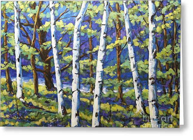 Acrylic On Wood Greeting Cards - Woodland Birches Greeting Card by Richard T Pranke