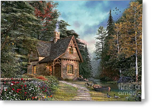 Stream Digital Art Greeting Cards - Woodland Cottage Greeting Card by Dominic Davison