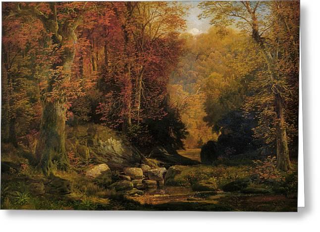 Woodland Interior Greeting Card by Thomas Moran