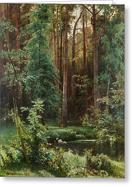 Ivan Greeting Cards - Woodland Greeting Card by Ivan Shishkin
