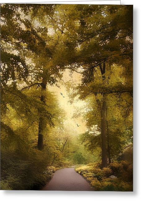 Woods Digital Art Greeting Cards - Woodland Passage Greeting Card by Jessica Jenney