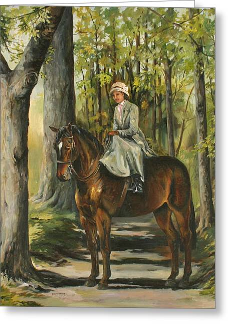 Sidesaddle Greeting Cards - Woodland Path Greeting Card by Beth Munnings