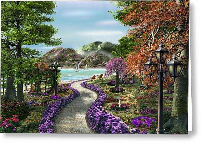 Garden Dor Greeting Cards - Woodland Path Greeting Card by Caplyn Dor